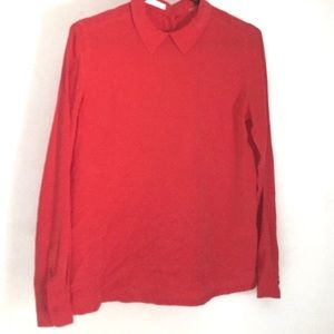 Equipment Cherry Red Long Sleeve Silk Blouse